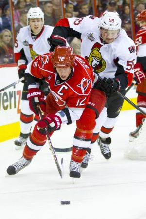 Carolina Hurricane Eric Staal, Ottawa Senator Sergei Gonchar - Photo by Andy Martin Jr greatest hockey family