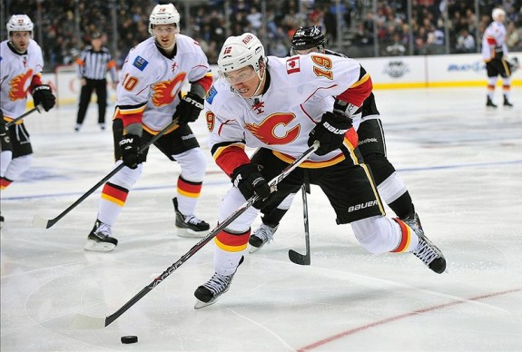 Blair Jones was the third-most veteran player in Calgary's forward corps Tuesday with 112 games. (Gary A. Vasquez-US PRESSWIRE)