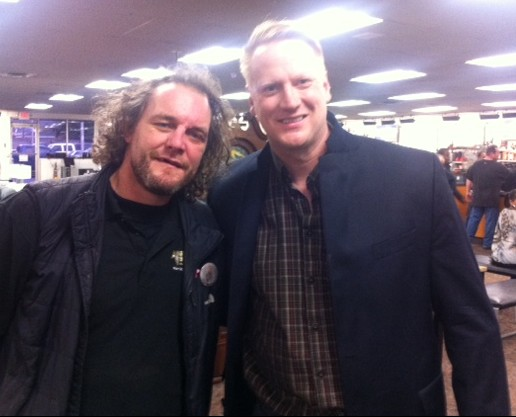 Darren McCarty with Adrian Dater of the Denver Post