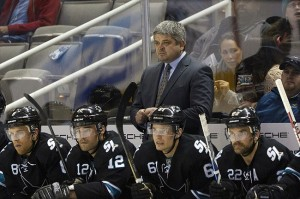 Mar 22, 2012; San Jose, CA, USA; San Jose Sharks head coach Todd McLellan stands behind the bench during the second period against the Boston Bruins at HP Pavilion. Mandatory Credit: Jason O. Watson-USA TODAY Sports
