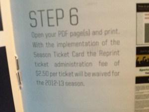 Winnipeg Jets Season Ticket Booklet Fee Description