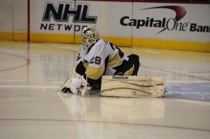 Marc-Andre Fleury will look to bounce back from last season's playoff performance. (Tom Turk-THW)