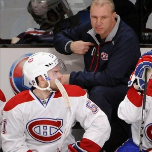 Montreal Canadiens head Michel Therrien and David Desharnais
