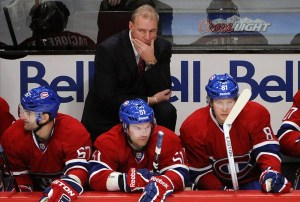 David Desharnais looks on from Habs bench.