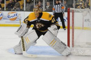 Tuukka Rask held the Pittsburgh Penguins to their fewest goal total ever in a playoff series. (Bob DeChiara-USA TODAY Sports)