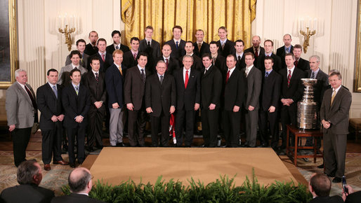 2006 Stanley Cup Champion Carolina Hurricanes at the White House.
