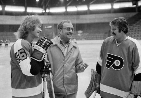 Fred Shero with Bobby Clarke and Bernie Parent