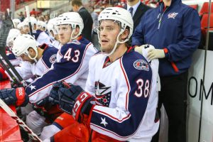 Boone Jenner, with the Blue Jackets (Photo Credit:  Andy Martin Jr)