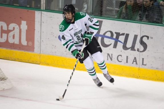 Jordan Schmaltz is headed into his junior year at UND (Eric Classen, UND Sports)