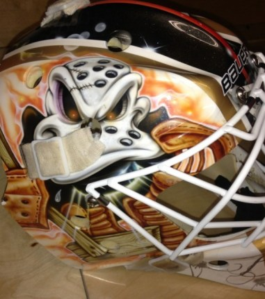 This side of Bobkov's mask has an old school look. Photo Credit: (Norfolk Admirals)