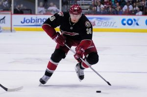 Phoenix Coyotes forward Rob Klinkhammer moves the puck during a recent home game at Jobing.com arena (Matt Kartozian-USA TODAY Sports)