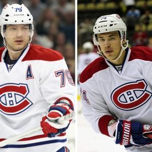 Montreal Canadiens defensemen Andrei Markov and Alexei Emelin