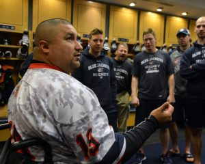 Shane Parsons meets the team. The feelings were mutual. Both the Jackets and Parsons were meeting their heroes. (USA Warriors: Ashleigh Bryant)