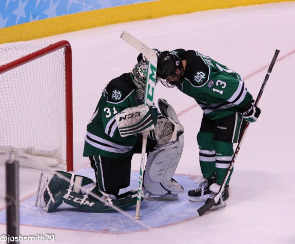 North Dakota loses to Minnesota in the semifinals of the Frozen Four. [photo: Josh Smith