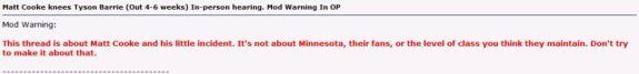 Matt Cooke HFBoards Warning