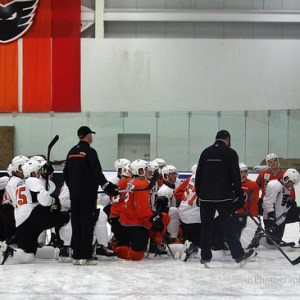 Philadelphia Flyers prospects take a knee at development camp. [photo: Amy Irvin}