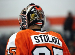 Anthony Stolarz started the first half of the rookie game against the Washington Capitals [photo: Amy Irvin]