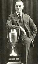 Frank Nighbor with the original Lady Byng Trophy.