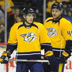 Franson (44) got lost in translation amongst the stacked corps of defensemen in Nashville. (Christopher Hanewinckel-USA TODAY Sports)