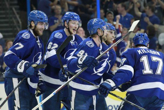 Lightning celebrate goal