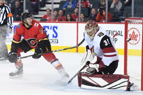 Calgary Flames Mark Jankowski and Arizona Coyotes goalie Adin Hill