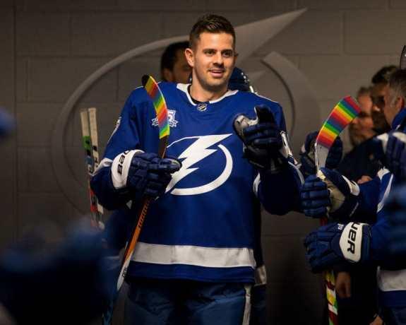 Alex Killorn #17 of the Tampa Bay Lightning