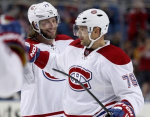 Montreal Canadiens defensemen Tom Gilbert and Andrei Markov