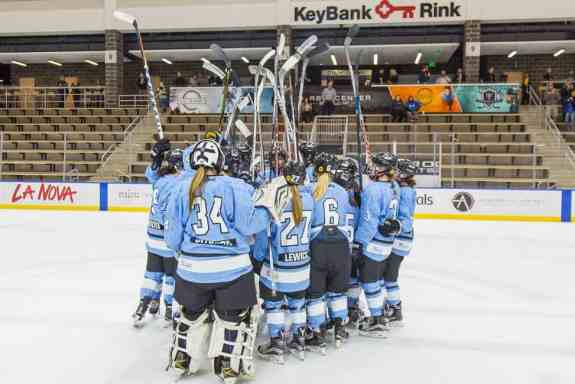 Buffalo Beauts end of game celebration together Oct. 9th, 2017