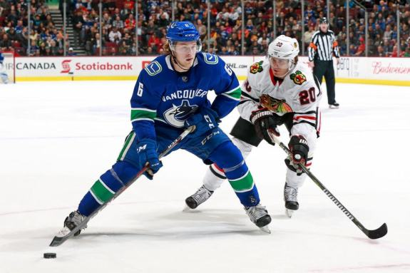 Brock Boeser #6 of the Vancouver Canucks