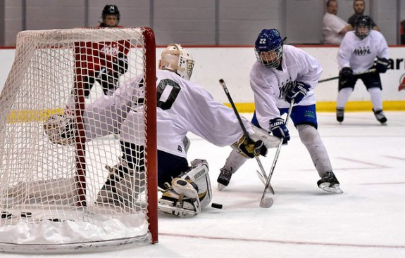 Danielle Ward attempts to score during the NWHL free agent camp in New Jersey. (Photo Credit: Troy Parla).
