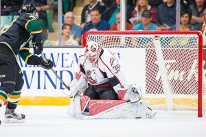Chase Marchand split time this season with backup Samuel Harvey (Rob Wallator / CHL Images.)