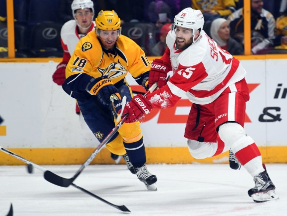 Former Detroit Red Wings center Riley Sheahan.
