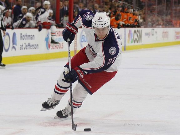 Murray has been a bright spot for Columbus, playing in every game this season. (Amy Irvin / The Hockey Writers)