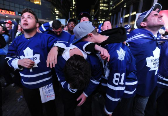 Toronto Maple Leafs fans show emotions