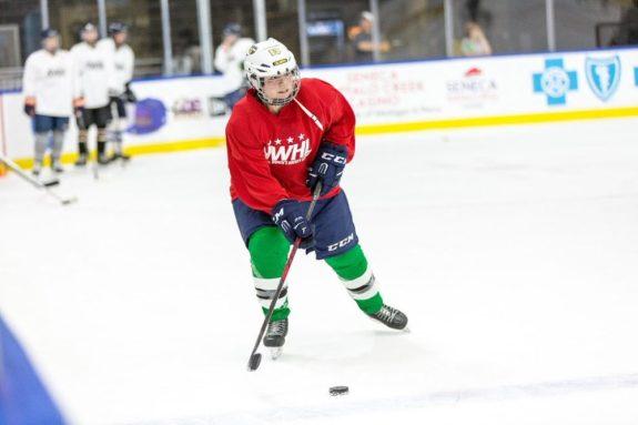 Sandra Velasquez at the NWHL free agent camp in Buffalo. (Photo Credit: Michael Heizel)