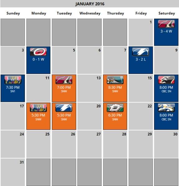 Edmonton Oilers January Schedule