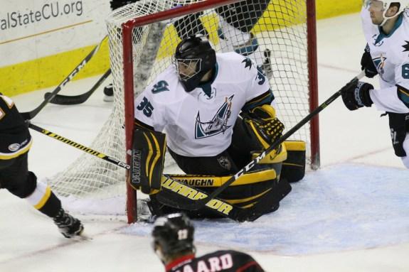 San Jose Barracuda goaltender Clarke Saunders