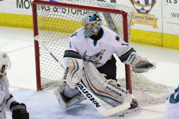 San Jose Barracuda goaltender Troy Grosenick