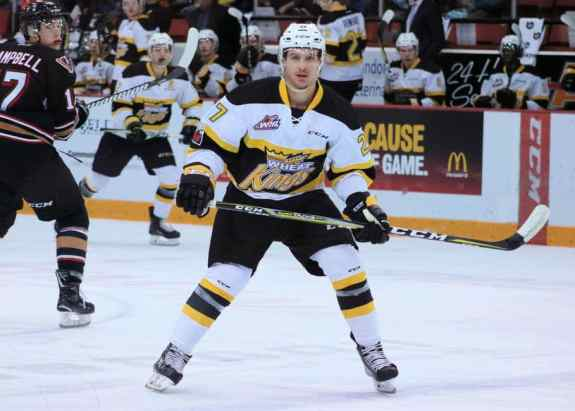 Luka Burzan of the Brandon Wheat Kings