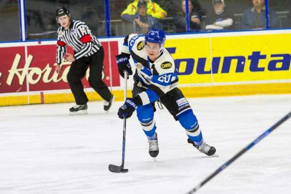 Potential Red Wings draft pick Jonny Tychonick of the Penticton Vees