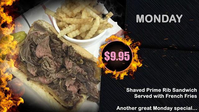 B The Hog Wild Monday Prime Rib Sandwich