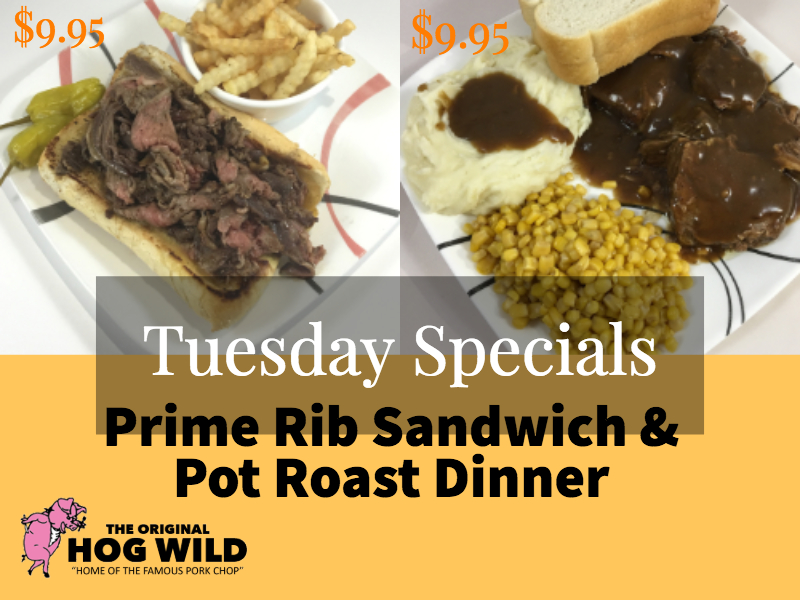Tuesday, October 9, 2018 Daily Specials