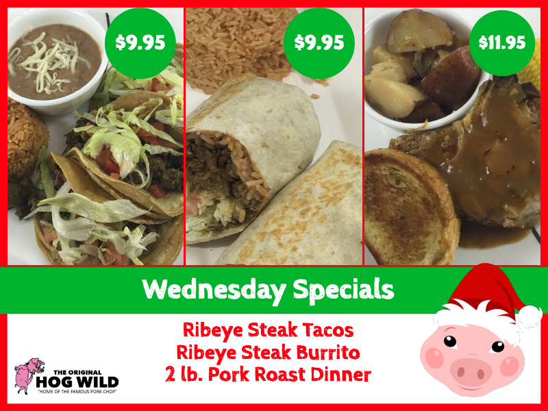Wednesday, December 26, 2018 Daily Specials