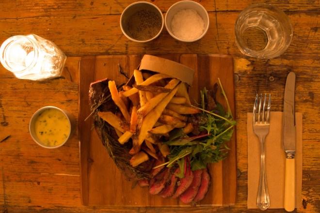 venison steak & chips
