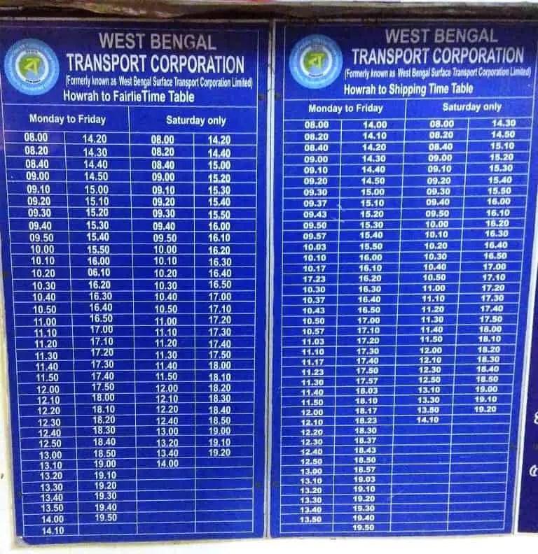 kolkata ferry service timetable