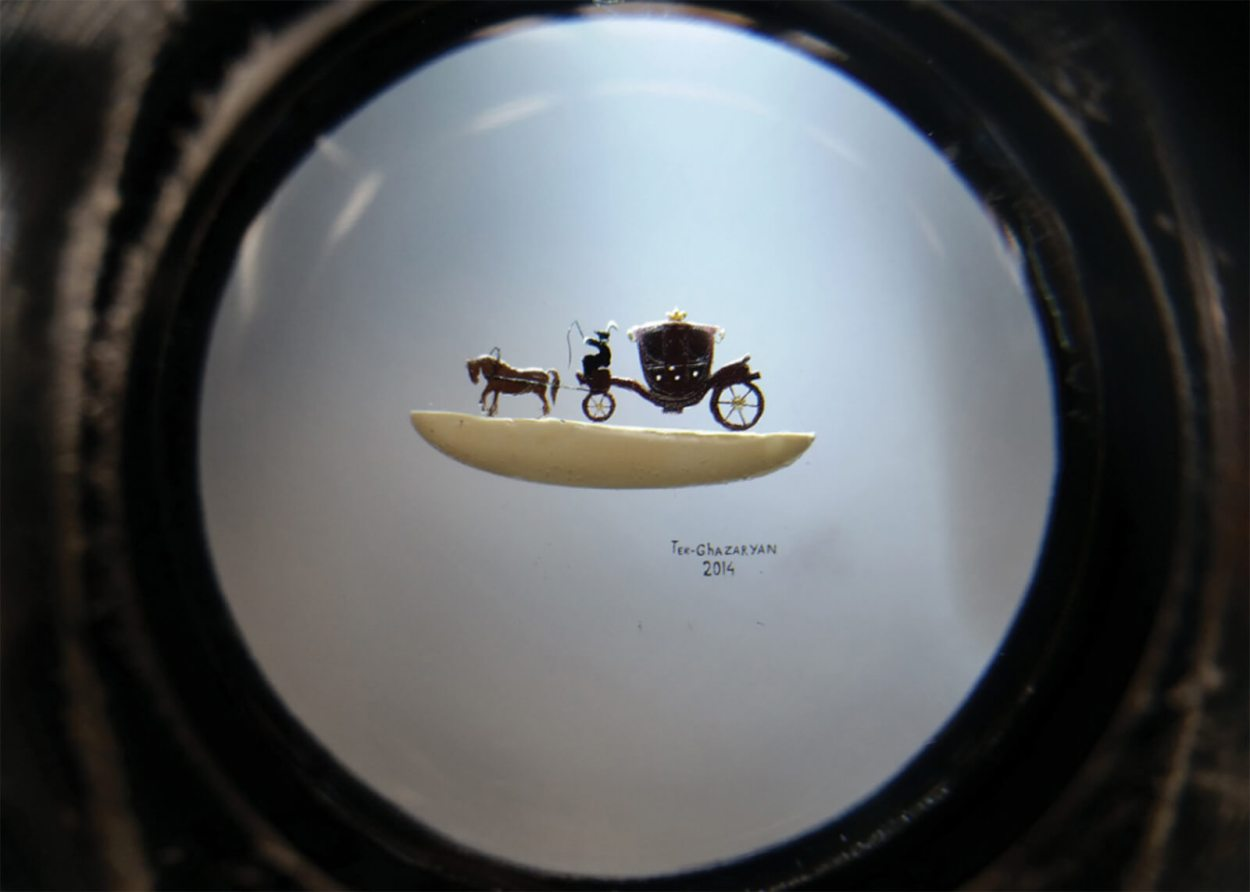 Carriage And Cabman (2014) is one of Junior's earliest pieces and currently on display at the Ter-Ghazaryans' Micro Art Museum in Yerevan, Armenia