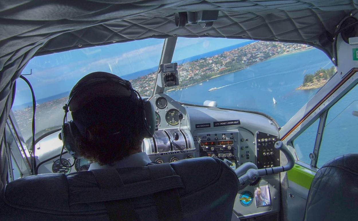 Flying over Sydney Harbour in a floatplane