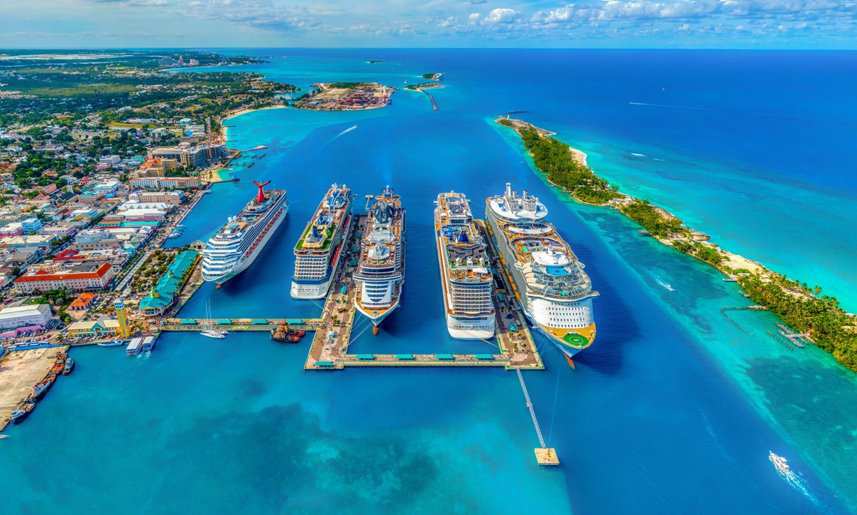 Several cruise ships docked in Nassau in the Bahamas