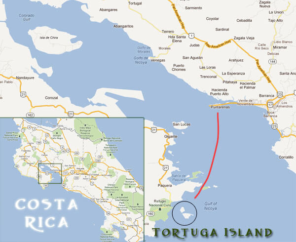 Map of the location of Puntarenas and Tortuga Island, Costa Rica