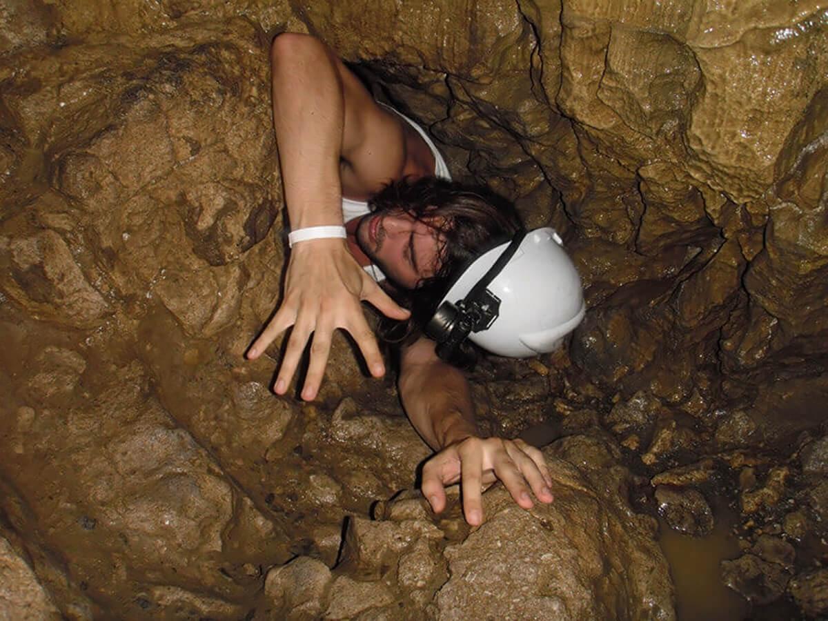 Derek Freal stuck in the Venado Caves (Caverna Gabinarraca in Spanish) near Arenal Volcano in Costa Rica